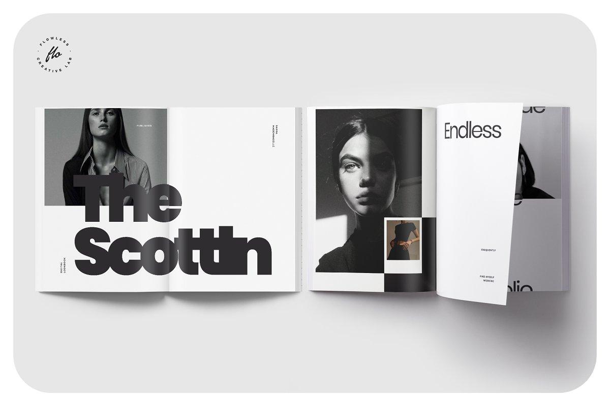 极简主义女性服装摄影作品集宣传画册设计INDD模板 CLARE Photography Lookbook插图(3)
