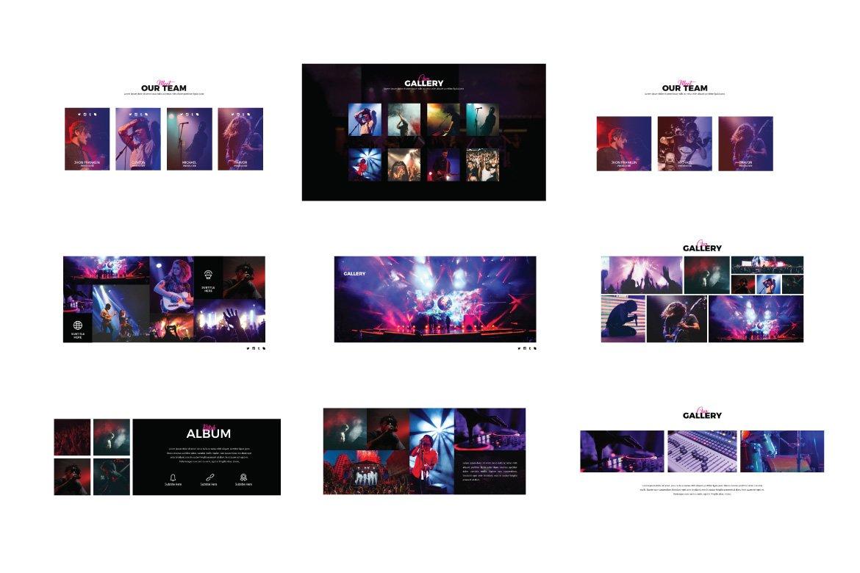 潮流演唱会音乐会策划案设计PPT幻灯片模板 Madness Powerpoint Template插图(3)