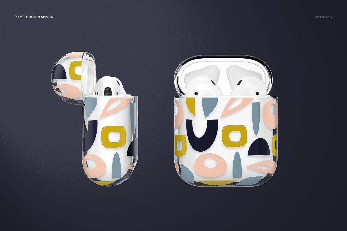 苹果蓝牙耳机AirPods透明收纳盒外观设计效果图样机模板02 AirPods Clear Case Mockup Set 02插图(3)