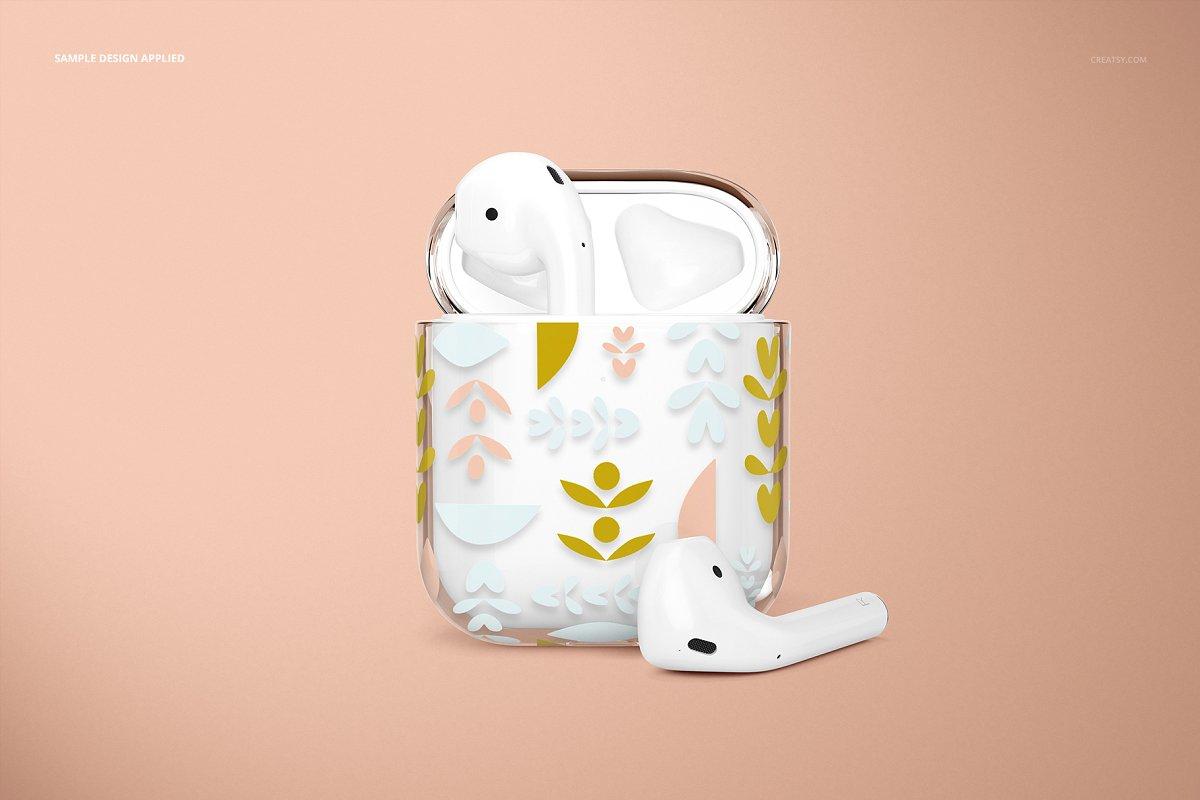 苹果蓝牙耳机AirPods透明收纳盒外观设计效果图样机模板02 AirPods Clear Case Mockup Set 02插图(4)