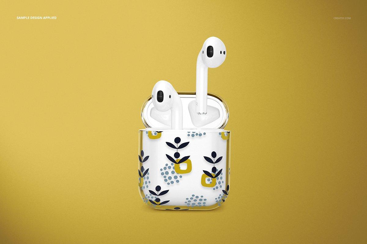 苹果蓝牙耳机AirPods透明收纳盒外观设计效果图样机模板02 AirPods Clear Case Mockup Set 02插图(5)