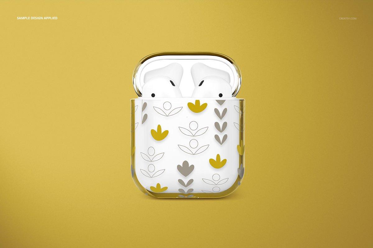 苹果蓝牙耳机AirPods透明收纳盒外观设计效果图样机模板02 AirPods Clear Case Mockup Set 02插图(10)