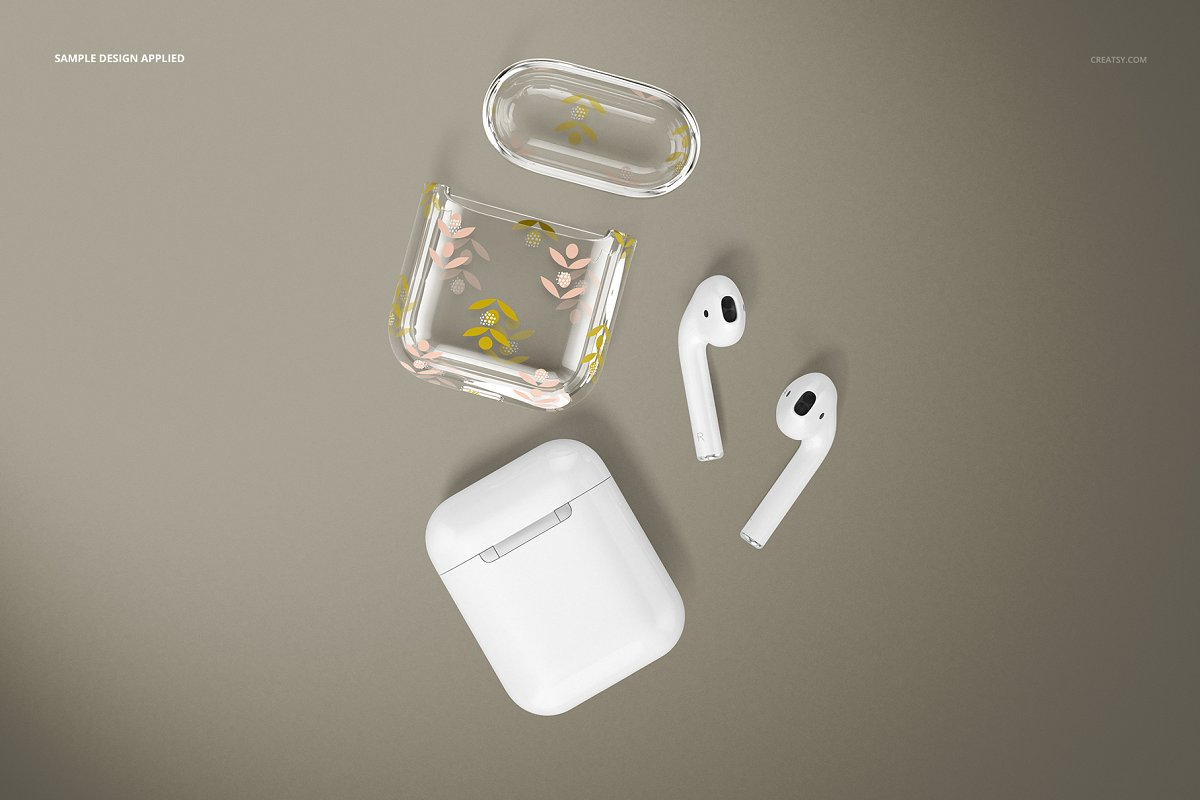 苹果蓝牙耳机AirPods透明收纳盒外观设计效果图样机模板02 AirPods Clear Case Mockup Set 02插图(11)