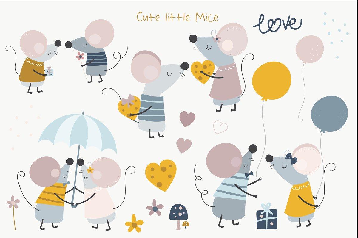 可爱的手绘情侣小老鼠矢量插画集 Squeak Hearts插图(1)