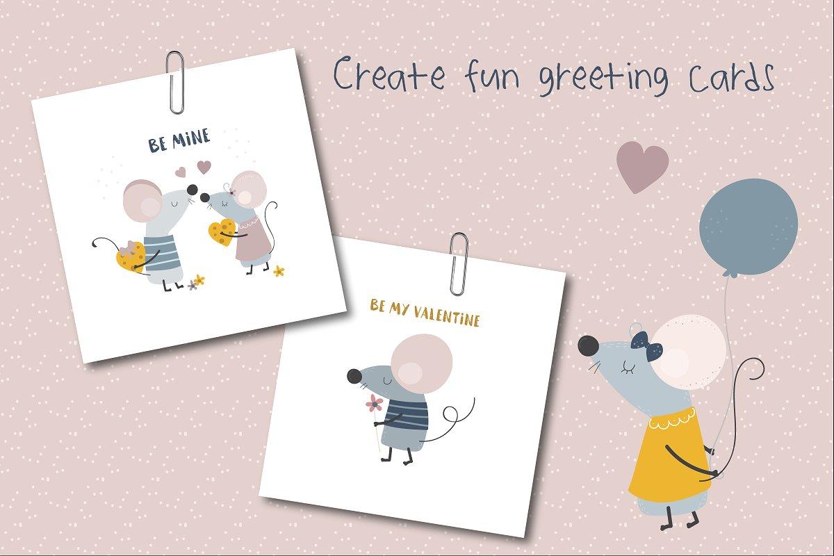 可爱的手绘情侣小老鼠矢量插画集 Squeak Hearts插图(2)