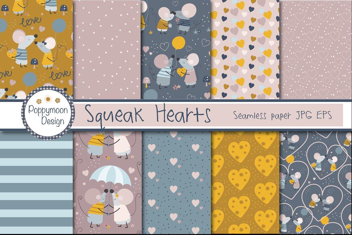 可爱的手绘情侣小老鼠矢量插画集 Squeak Hearts插图(3)