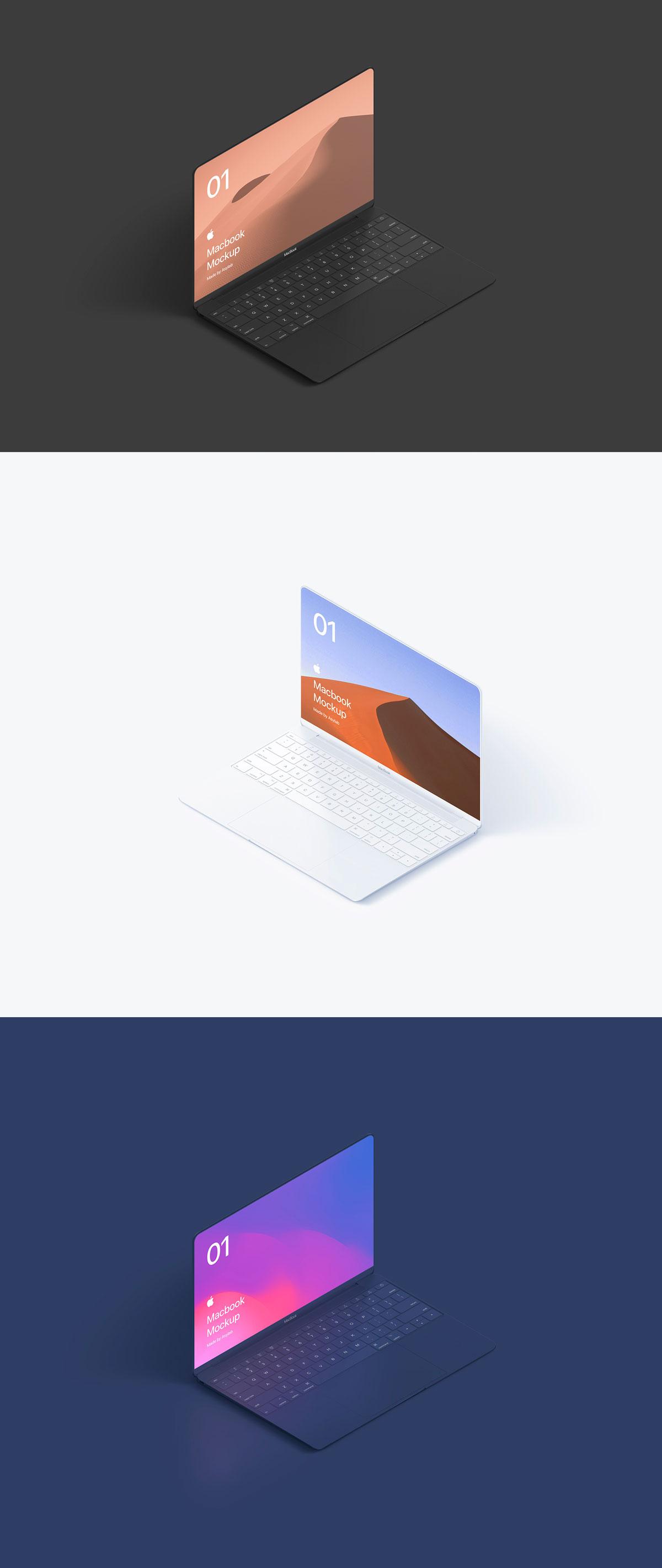 自适应网页设计等距Macbook 2018&iPhone XS展示样机模板 Macbook 10 Isometric插图(3)