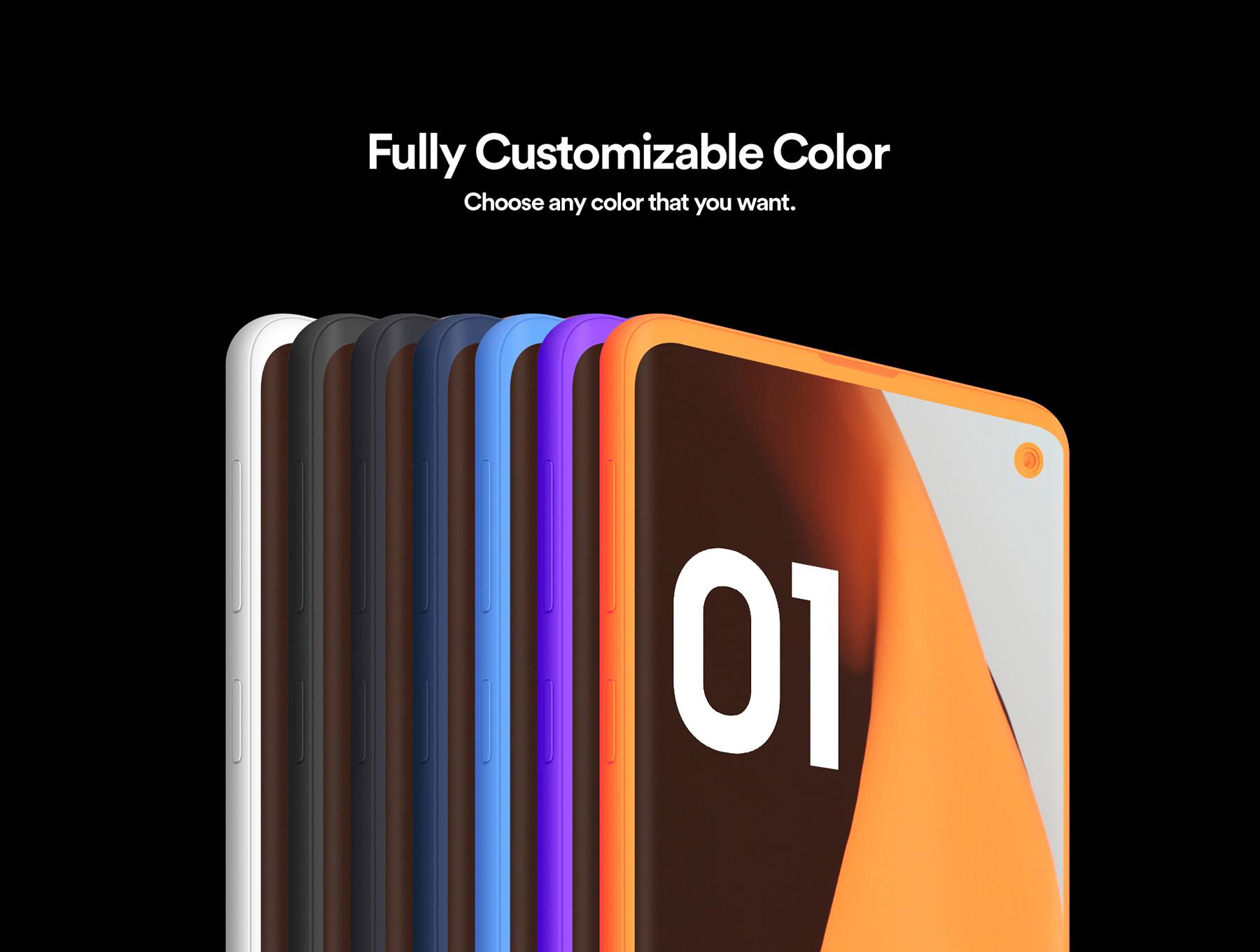 陶瓷质感三星Galaxy S10智能手机样机模板 Samsung Galaxy S10 – 21 Clay Mockups插图(3)