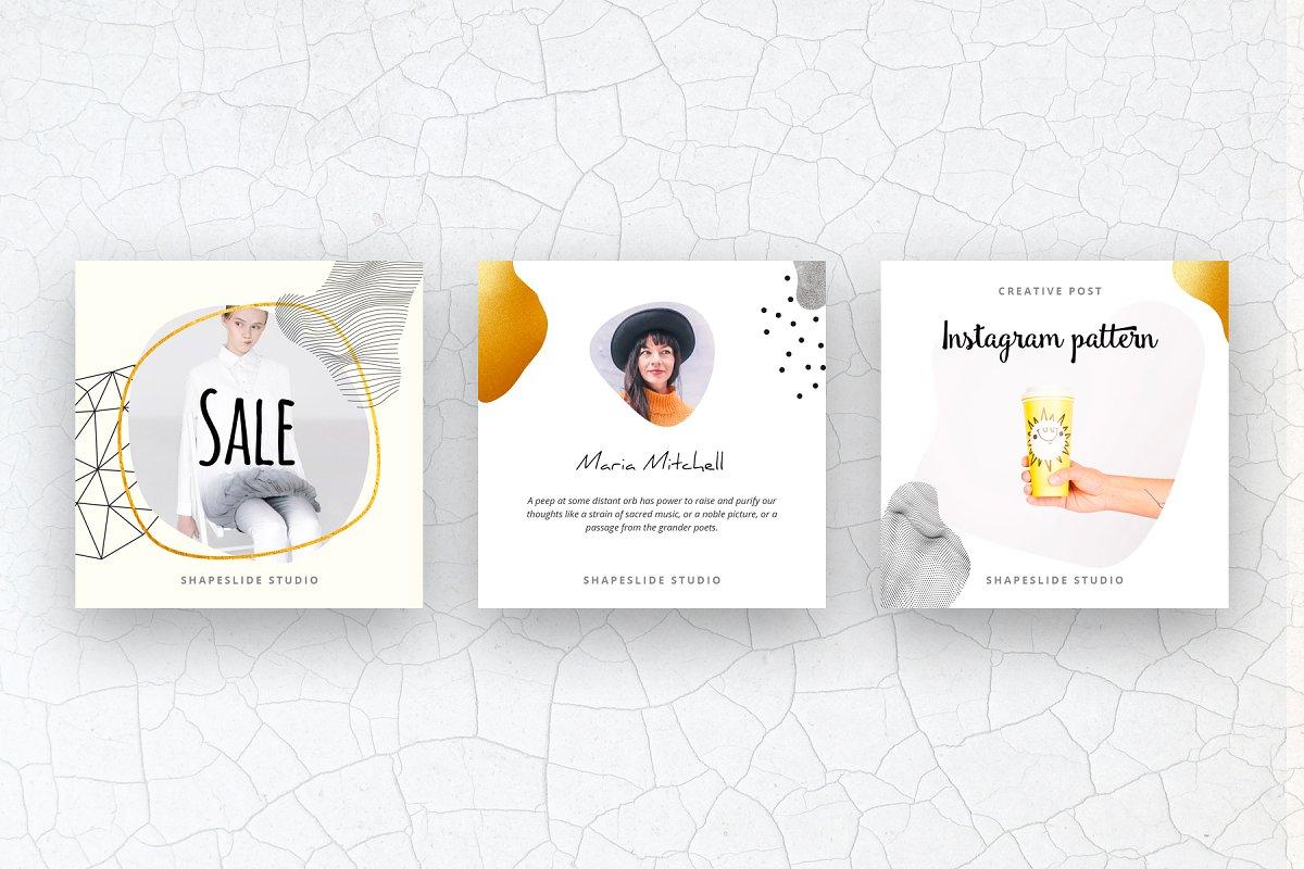 方形抽象图形服装品牌Instagram推广贴文广告模板 PATTERN Animated Instagram Posts插图(3)