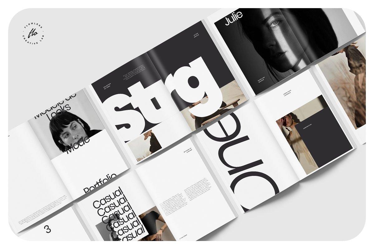 极简主义女性服装摄影作品集宣传画册设计INDD模板 CLARE Photography Lookbook插图(4)