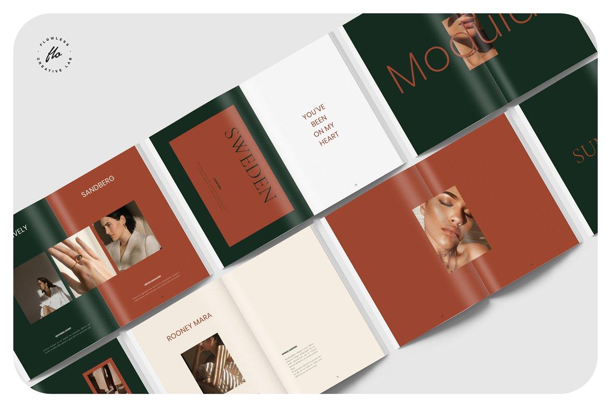 国际大牌服装设计摄影作品集杂志宣传画册目录INDD模板 GROVE Editorial Lookbook Magazine插图(4)