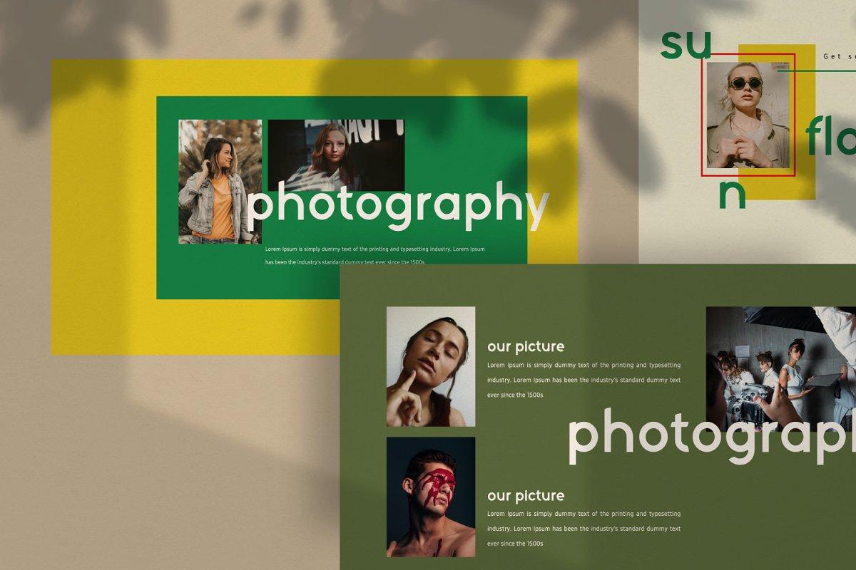 时尚潮流服装摄影作品集PPT演示文稿设计模板 Sunflower – Powerpoint插图(2)
