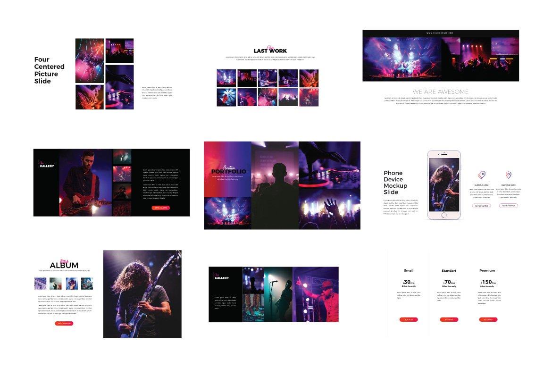 潮流演唱会音乐会策划案设计PPT幻灯片模板 Madness Powerpoint Template插图(4)