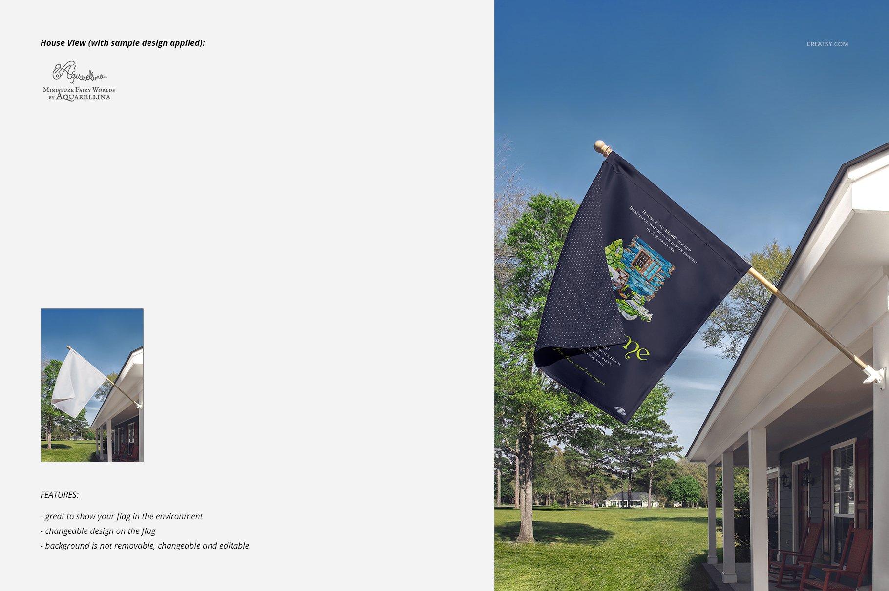 房屋悬挂旗帜设计展示图样机模板合集 Large House Flag Mockup Set插图(5)