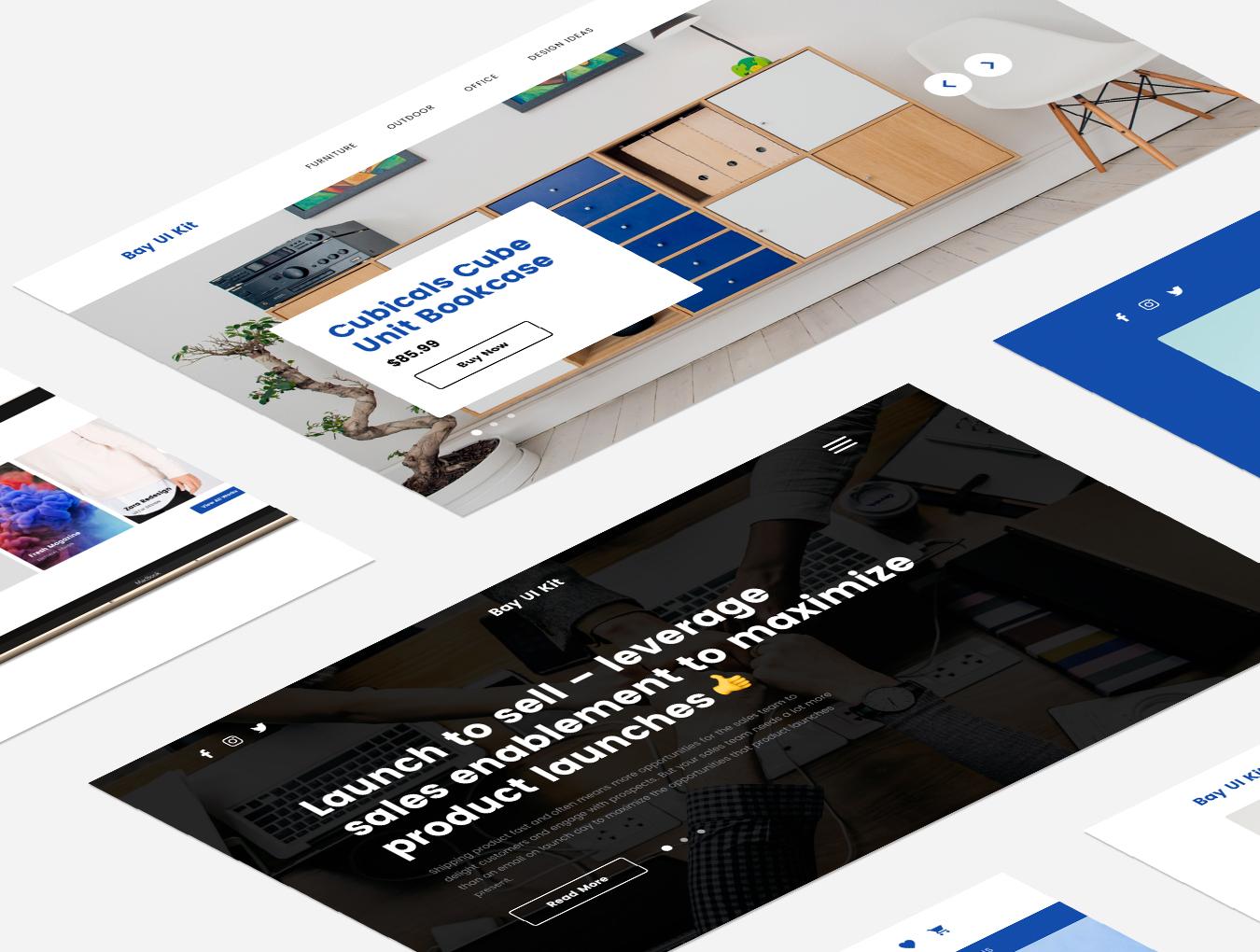 现代简约摄影设计工作室WEB网站UI界面设计模板 Bay UI Kit插图(4)