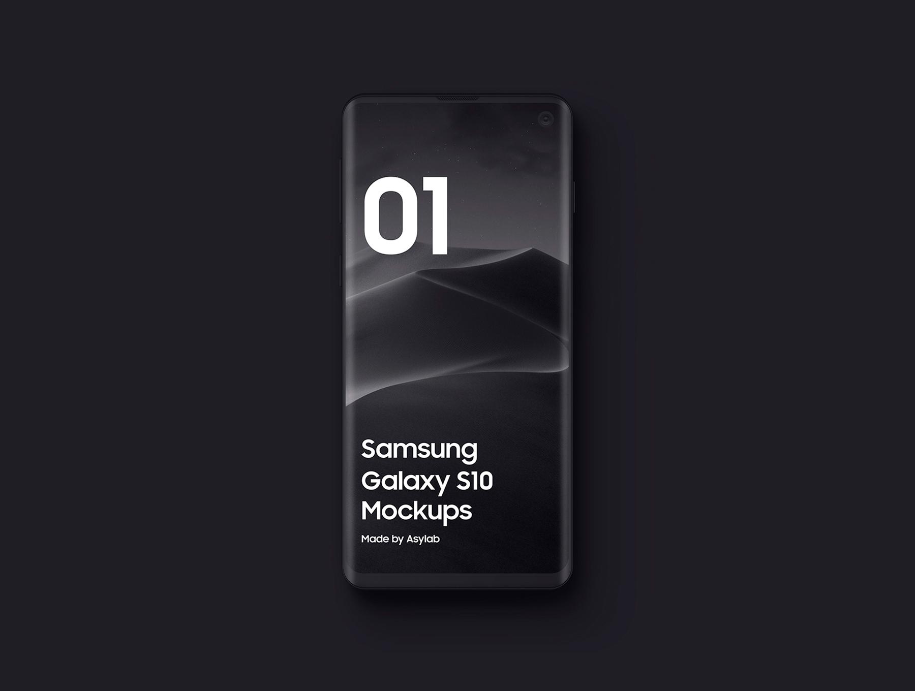 陶瓷质感三星Galaxy S10智能手机样机模板 Samsung Galaxy S10 – 21 Clay Mockups插图(4)