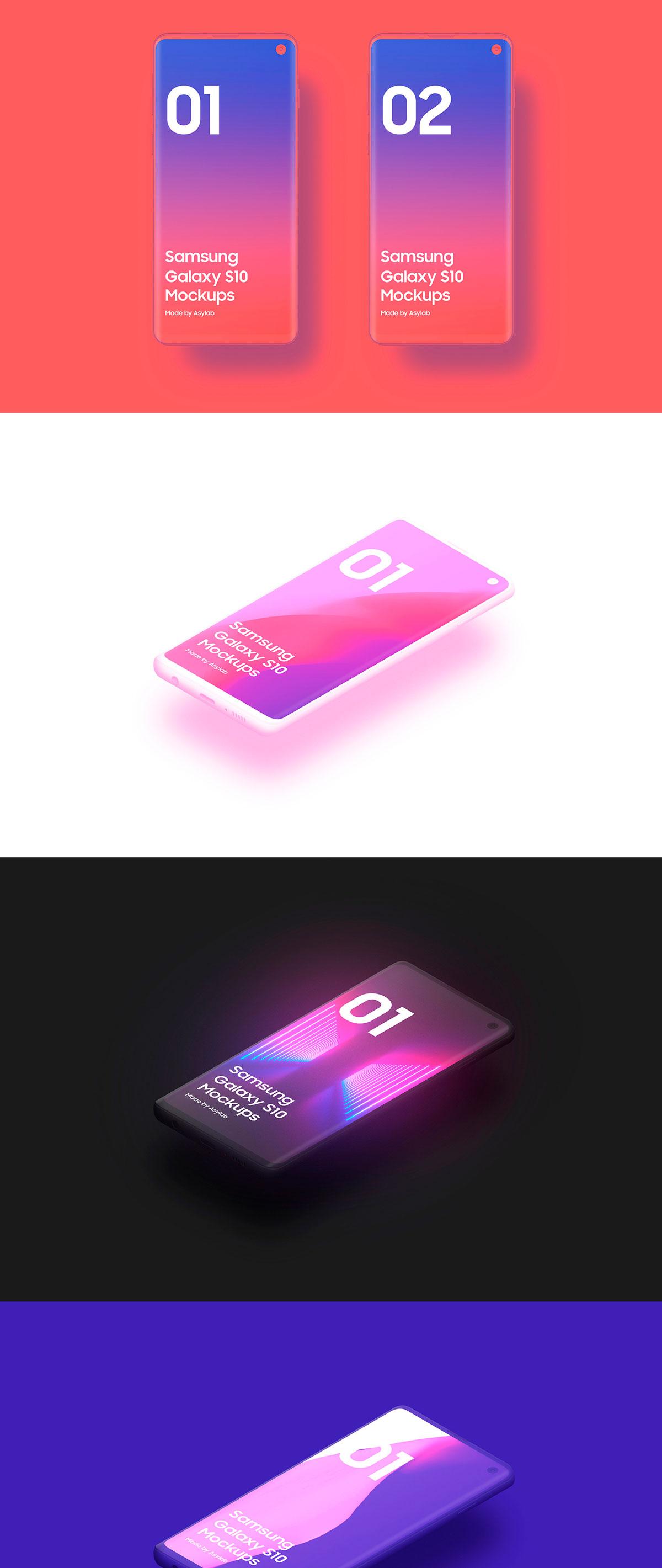 陶瓷质感三星Galaxy S10智能手机样机模板 Samsung Galaxy S10 – 21 Clay Mockups插图(12)
