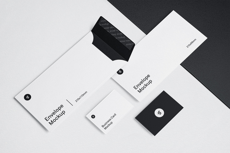 高品质信封&名片设计展示图样机模板 Envelope and Business Card Mockups插图