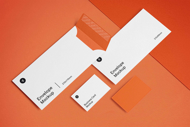 高品质信封&名片设计展示图样机模板 Envelope and Business Card Mockups插图(4)