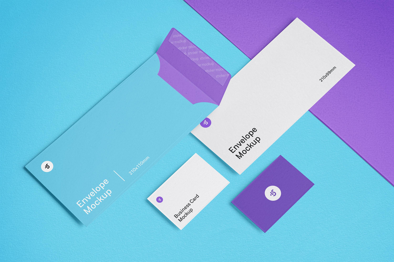高品质信封&名片设计展示图样机模板 Envelope and Business Card Mockups插图(3)
