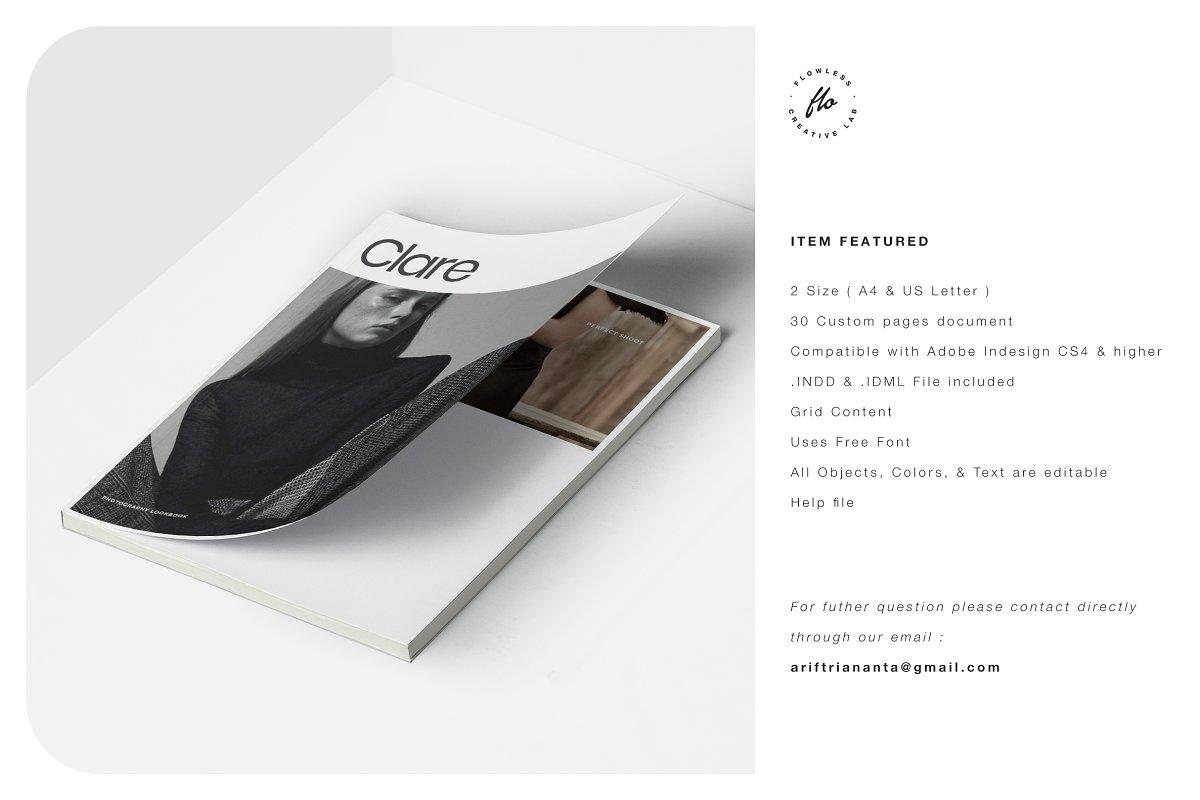 极简主义女性服装摄影作品集宣传画册设计INDD模板 CLARE Photography Lookbook插图(5)