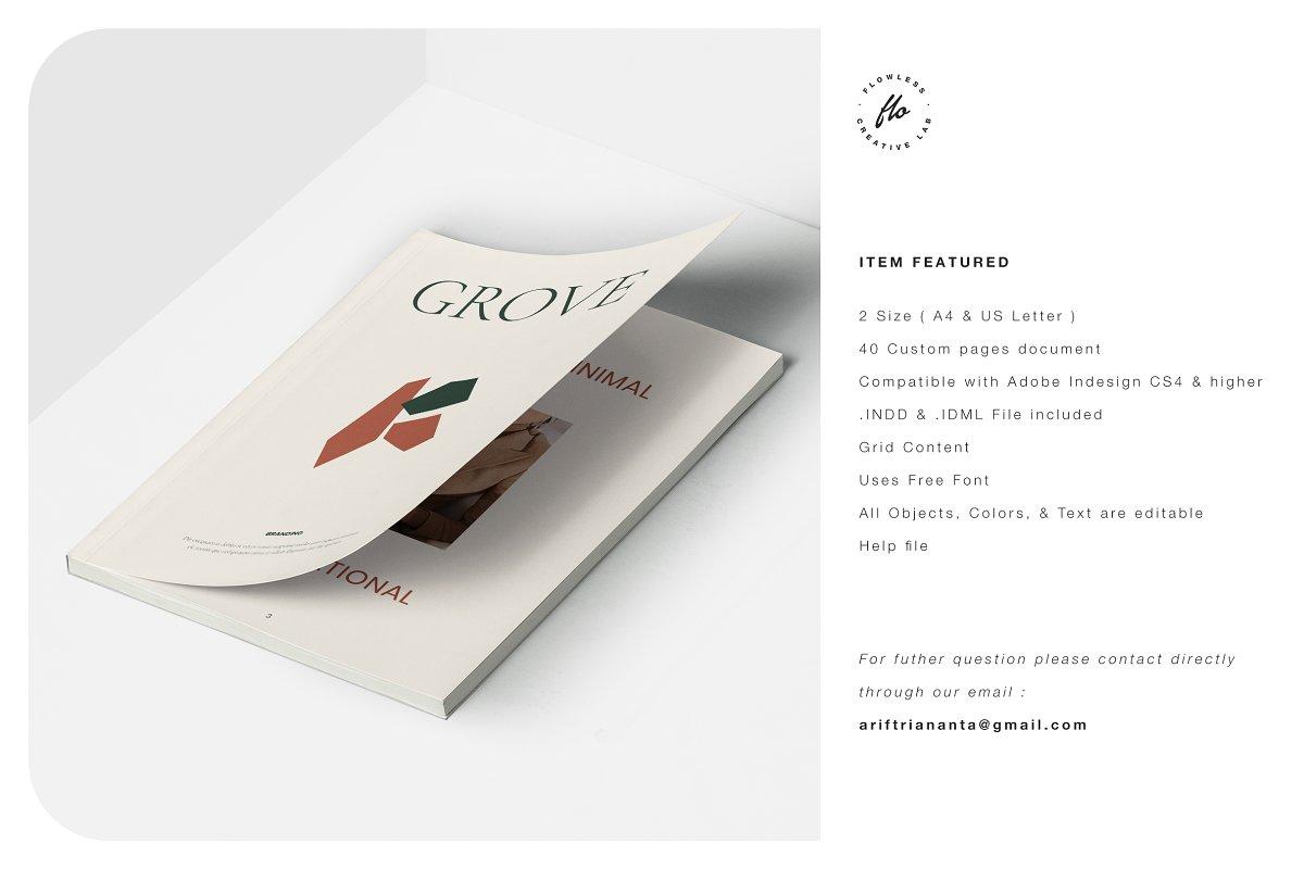 国际大牌服装设计摄影作品集杂志宣传画册目录INDD模板 GROVE Editorial Lookbook Magazine插图(5)