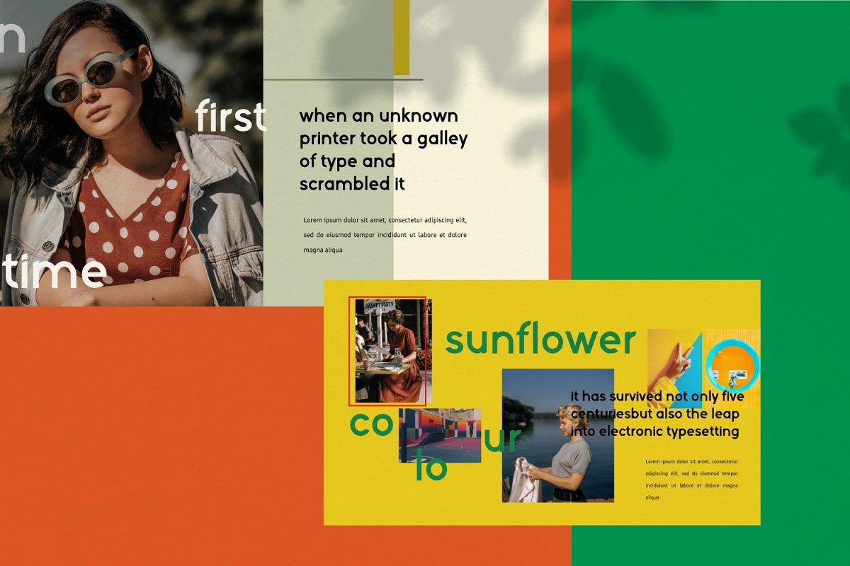 时尚潮流服装摄影作品集PPT演示文稿设计模板 Sunflower – Powerpoint插图(3)
