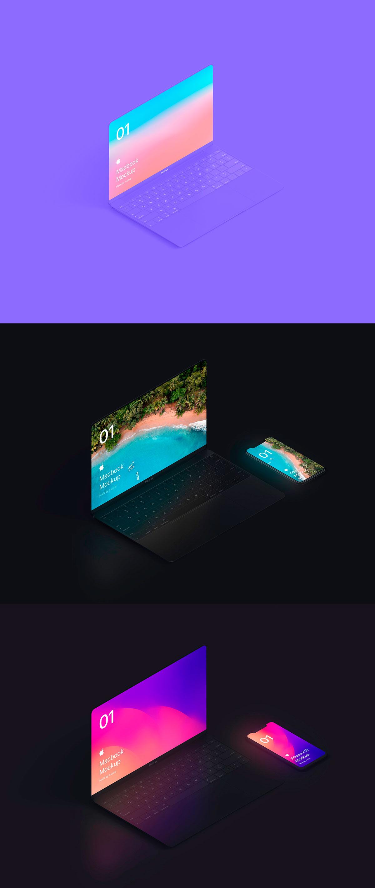 自适应网页设计等距Macbook 2018&iPhone XS展示样机模板 Macbook 10 Isometric插图(5)