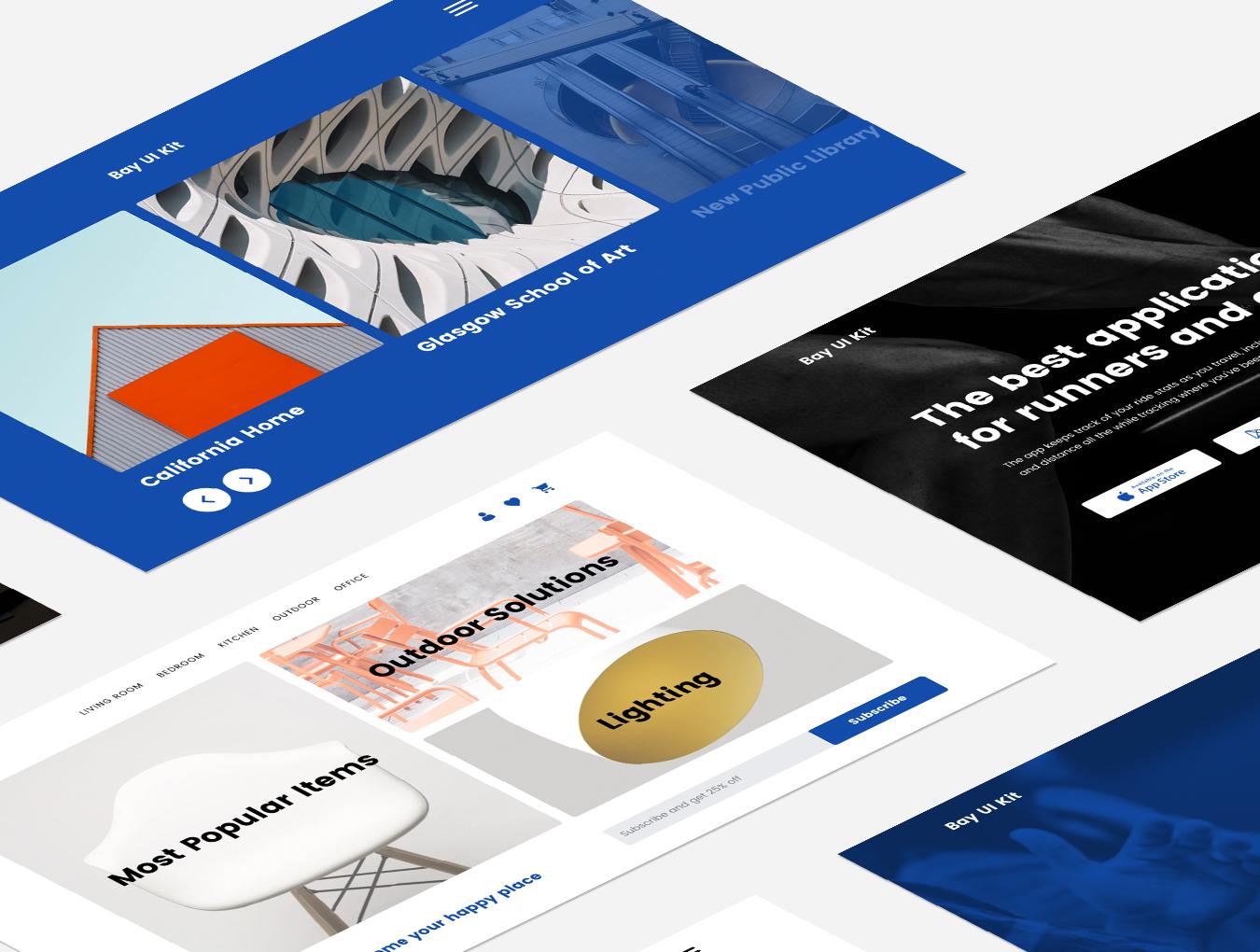 现代简约摄影设计工作室WEB网站UI界面设计模板 Bay UI Kit插图(5)