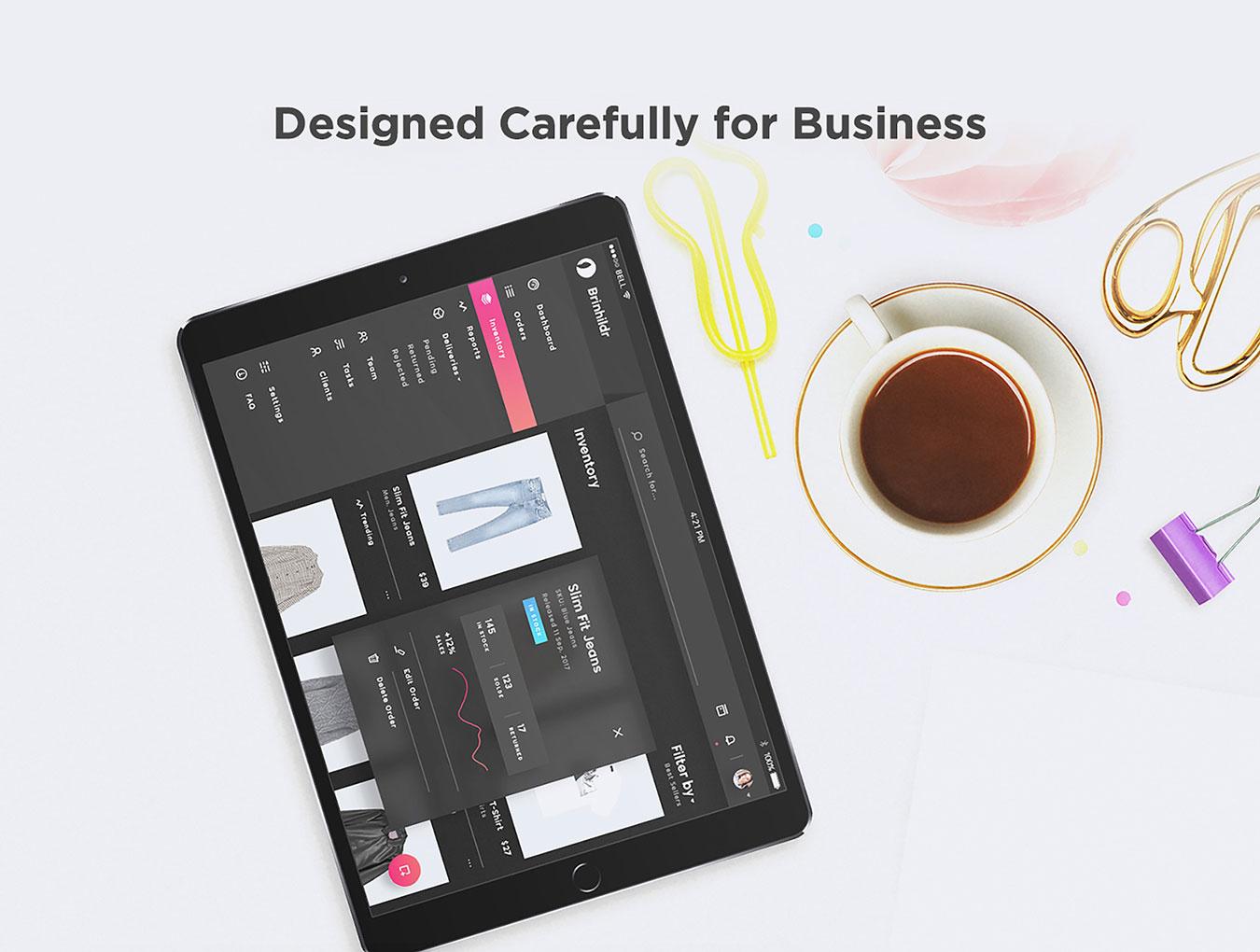 商城网站仪表盘后台管理系统WEB UI界面设计套件 Brinhildr – Dashboard Web UI Kit插图(1)