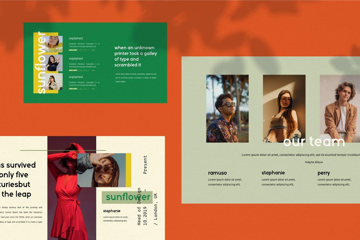 时尚潮流服装摄影作品集PPT演示文稿设计模板 Sunflower – Powerpoint插图(4)