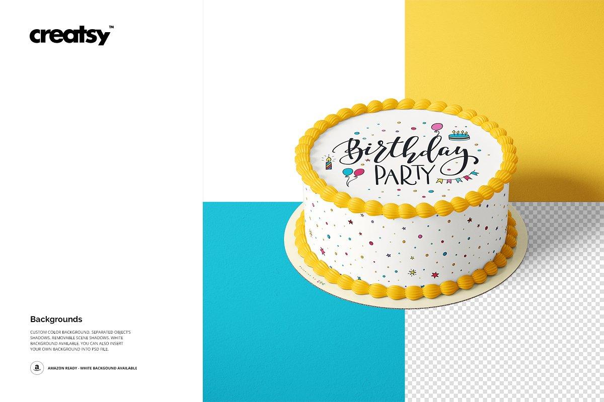 食用蛋糕礼帽外观设计效果图样机模板合集 Edible Cake Topper Mockup Set插图(8)