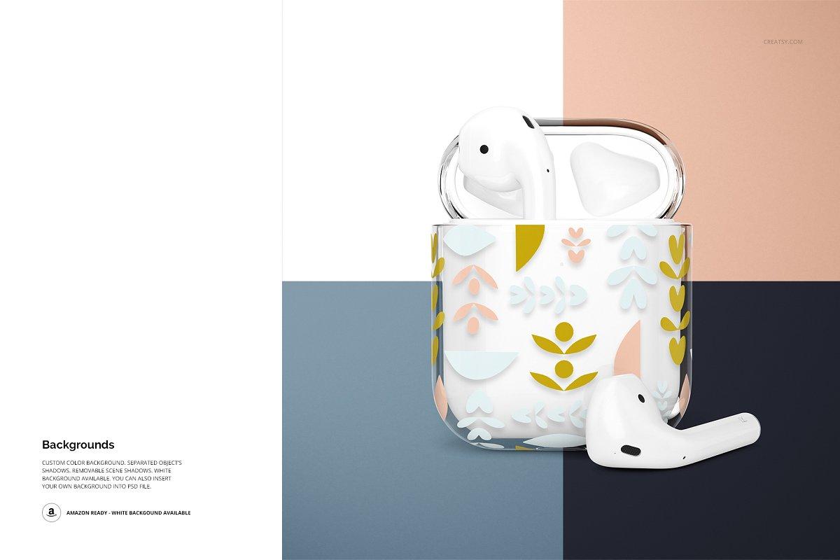 苹果蓝牙耳机AirPods透明收纳盒外观设计效果图样机模板02 AirPods Clear Case Mockup Set 02插图(13)
