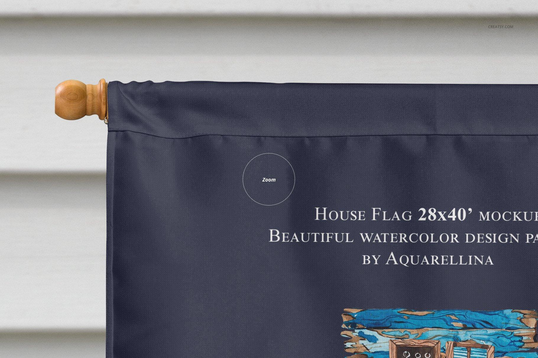 房屋悬挂旗帜设计展示图样机模板合集 Large House Flag Mockup Set插图(7)