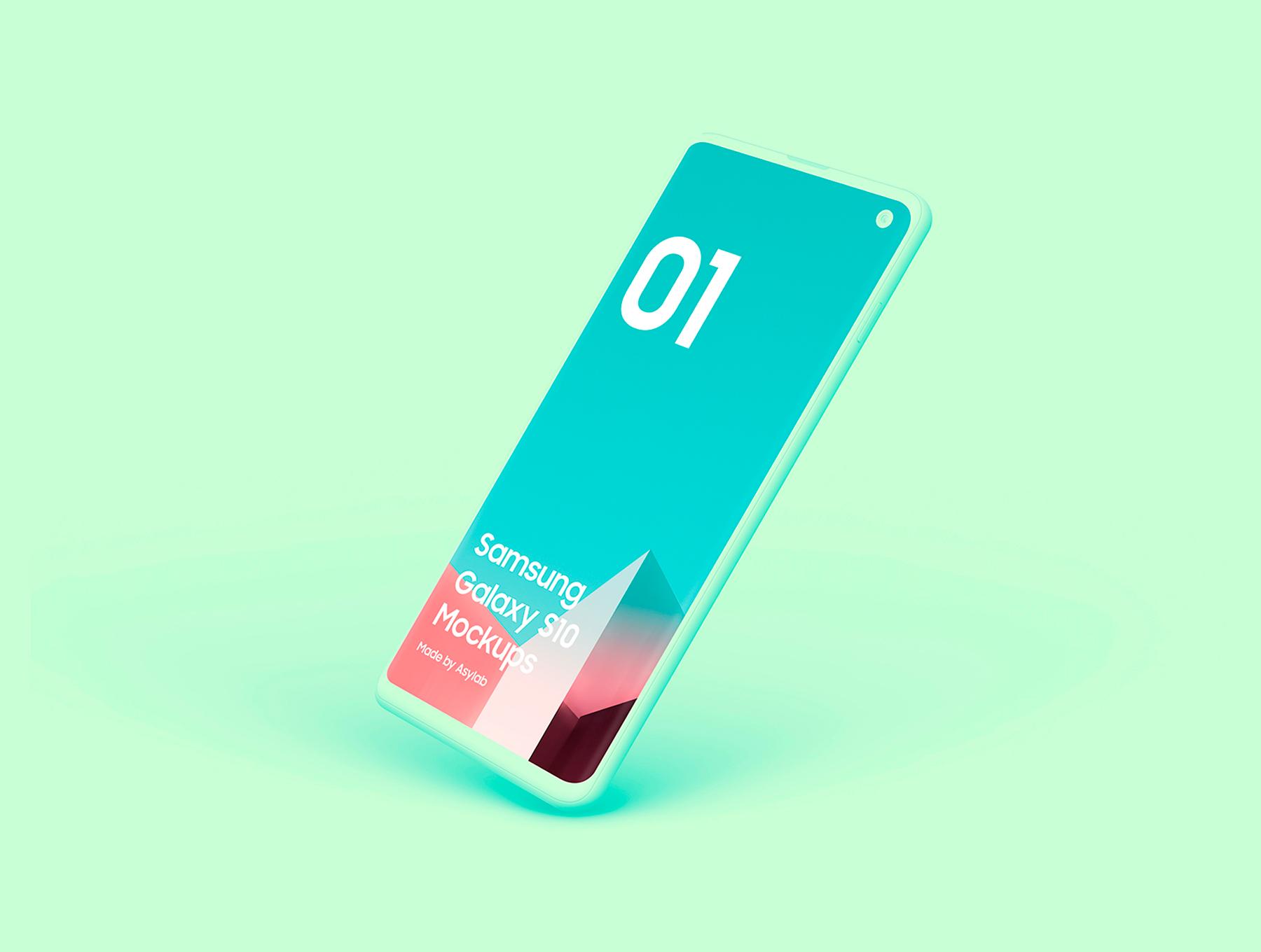 陶瓷质感三星Galaxy S10智能手机样机模板 Samsung Galaxy S10 – 21 Clay Mockups插图(6)