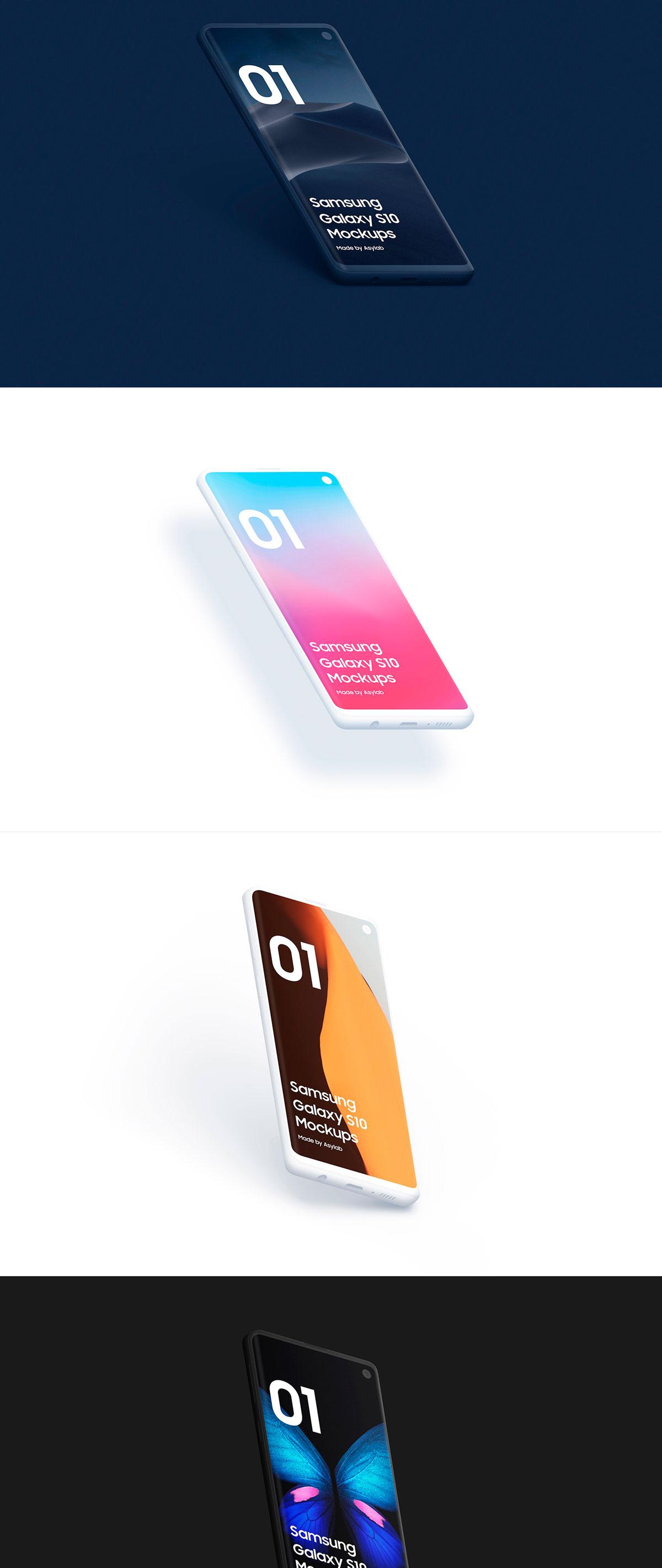 陶瓷质感三星Galaxy S10智能手机样机模板 Samsung Galaxy S10 – 21 Clay Mockups插图(14)