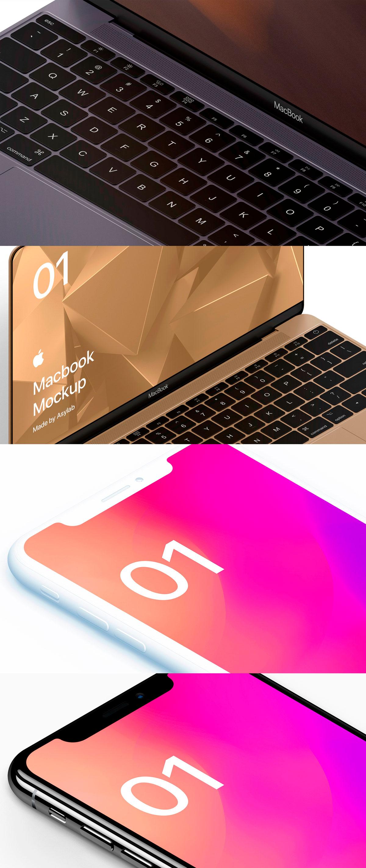 自适应网页设计等距Macbook 2018&iPhone XS展示样机模板 Macbook 10 Isometric插图(7)