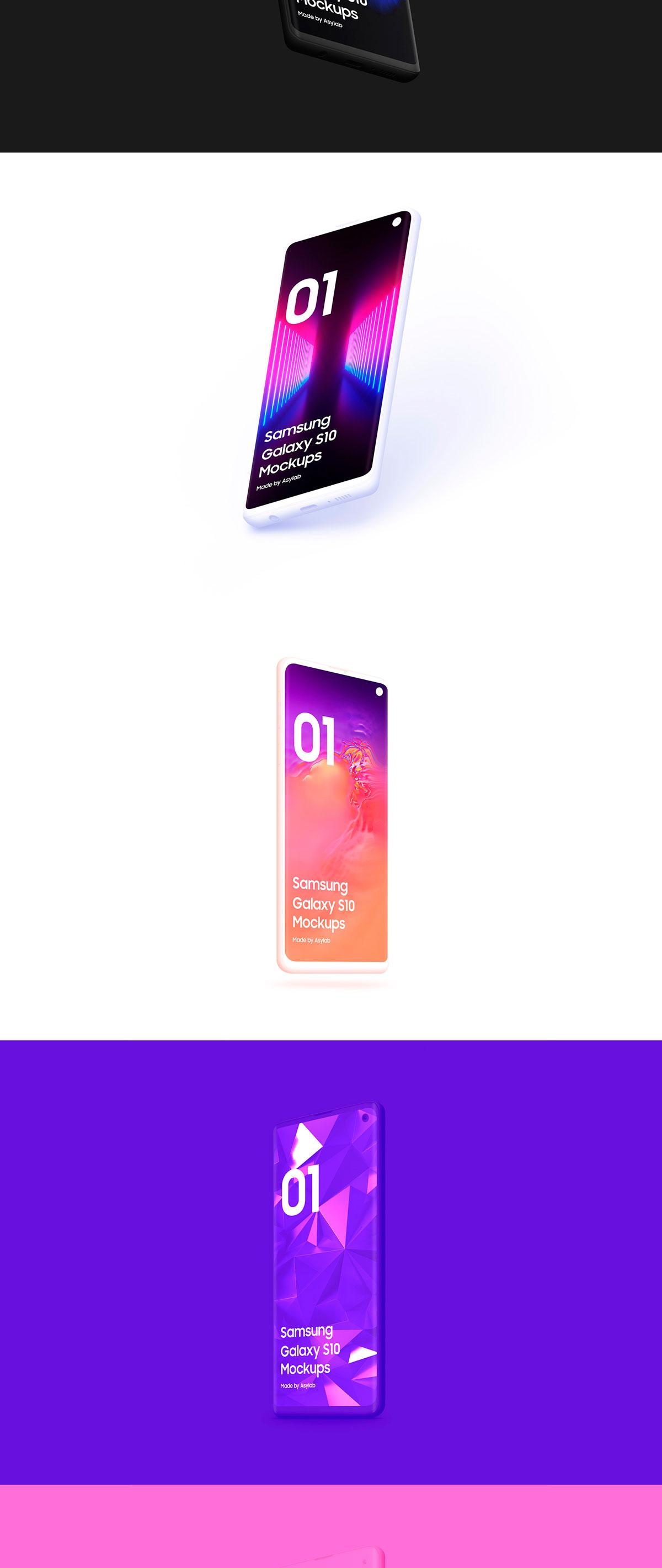 陶瓷质感三星Galaxy S10智能手机样机模板 Samsung Galaxy S10 – 21 Clay Mockups插图(15)