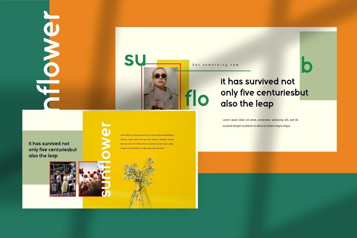 时尚潮流服装摄影作品集PPT演示文稿设计模板 Sunflower – Powerpoint插图(6)