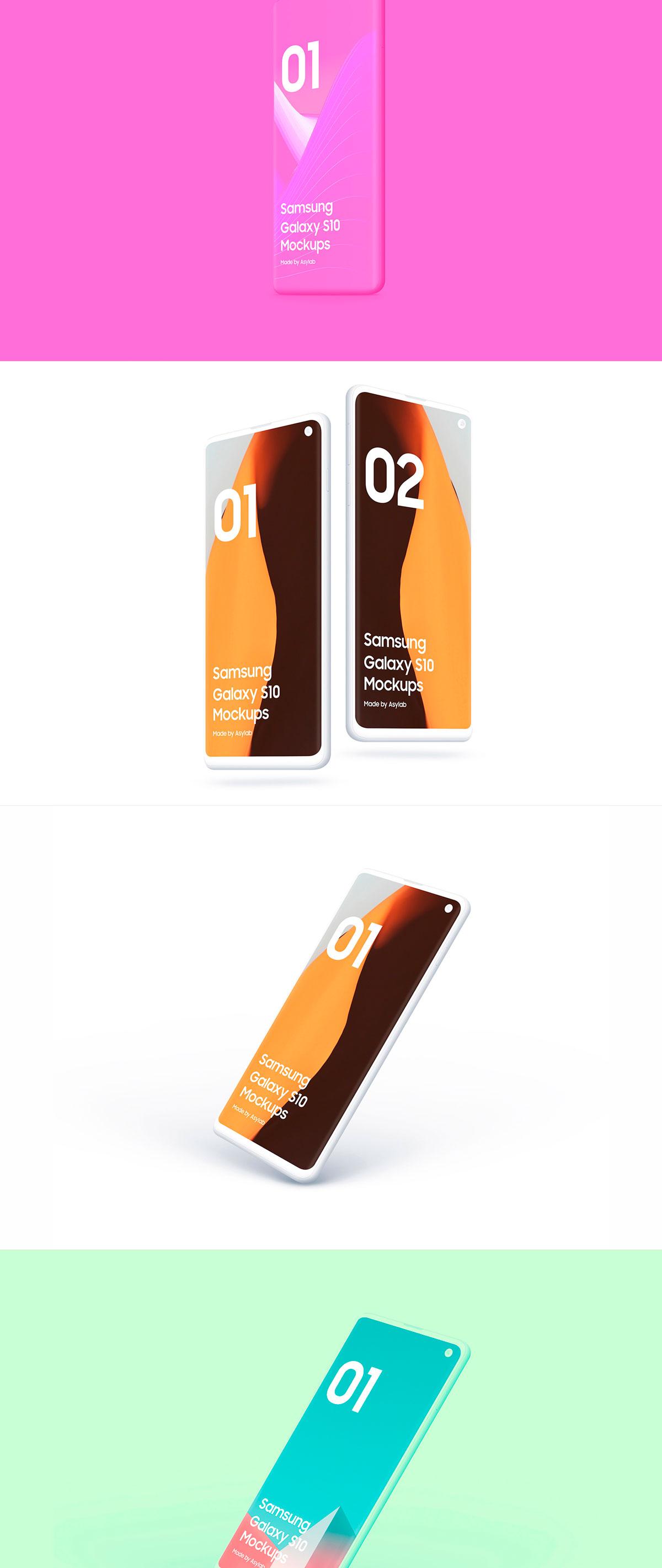 陶瓷质感三星Galaxy S10智能手机样机模板 Samsung Galaxy S10 – 21 Clay Mockups插图(16)