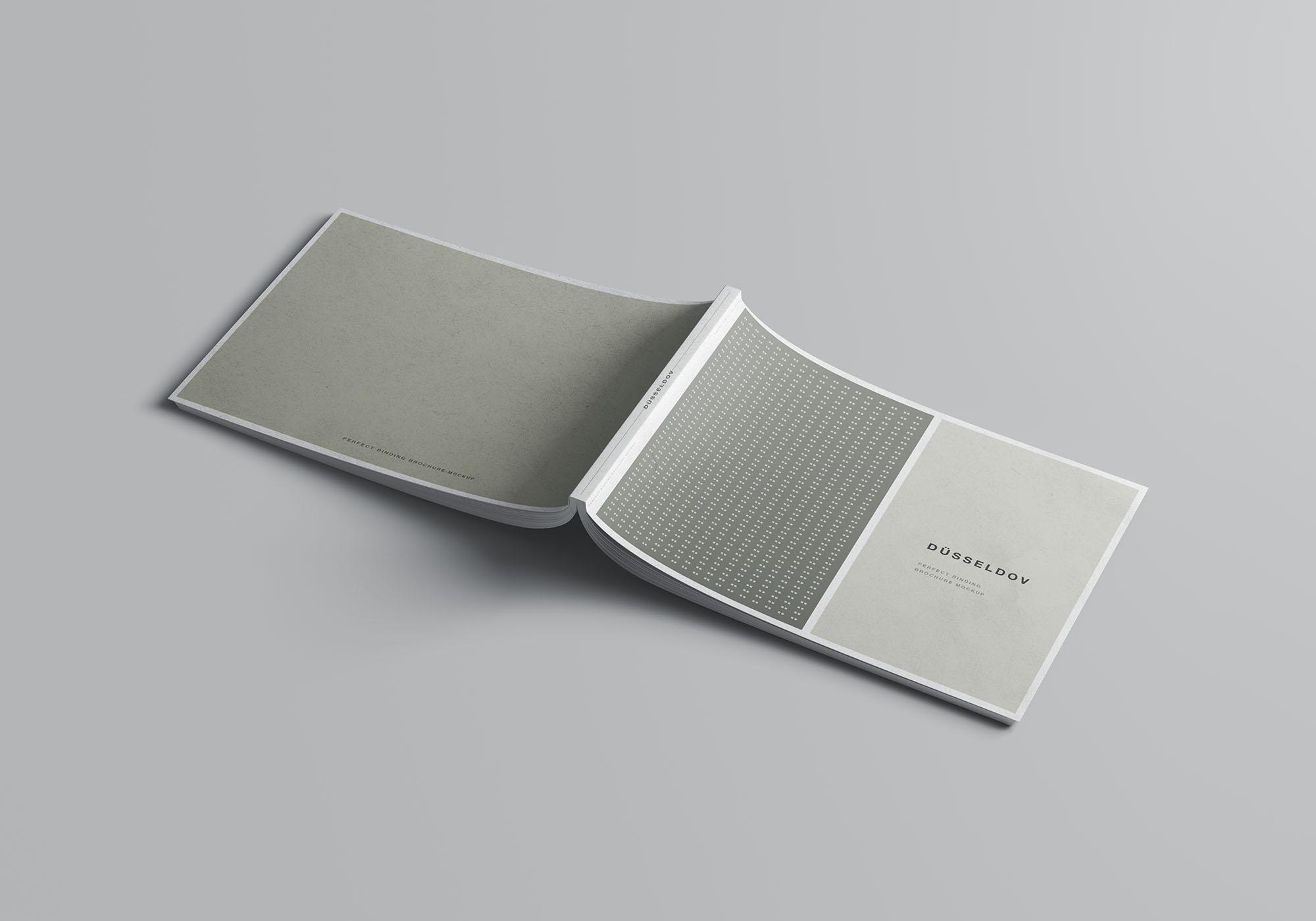 A4书籍画册杂志设计效果图样机模板 A4 Landscape Perfect Binding Brochure Mockup插图(1)