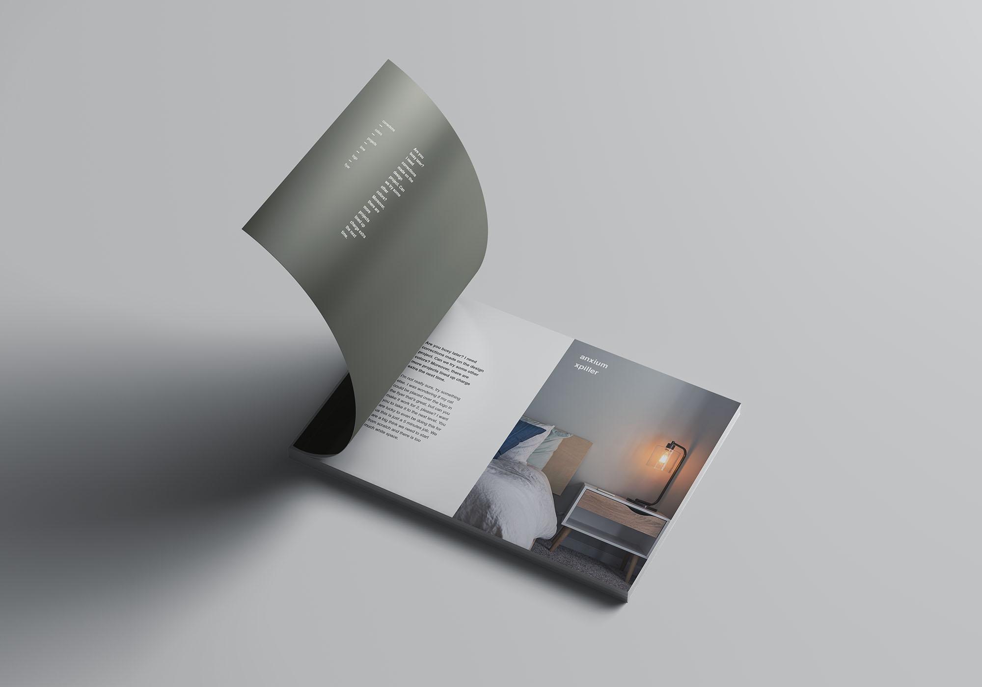 A4书籍画册杂志设计效果图样机模板 A4 Landscape Perfect Binding Brochure Mockup插图(2)