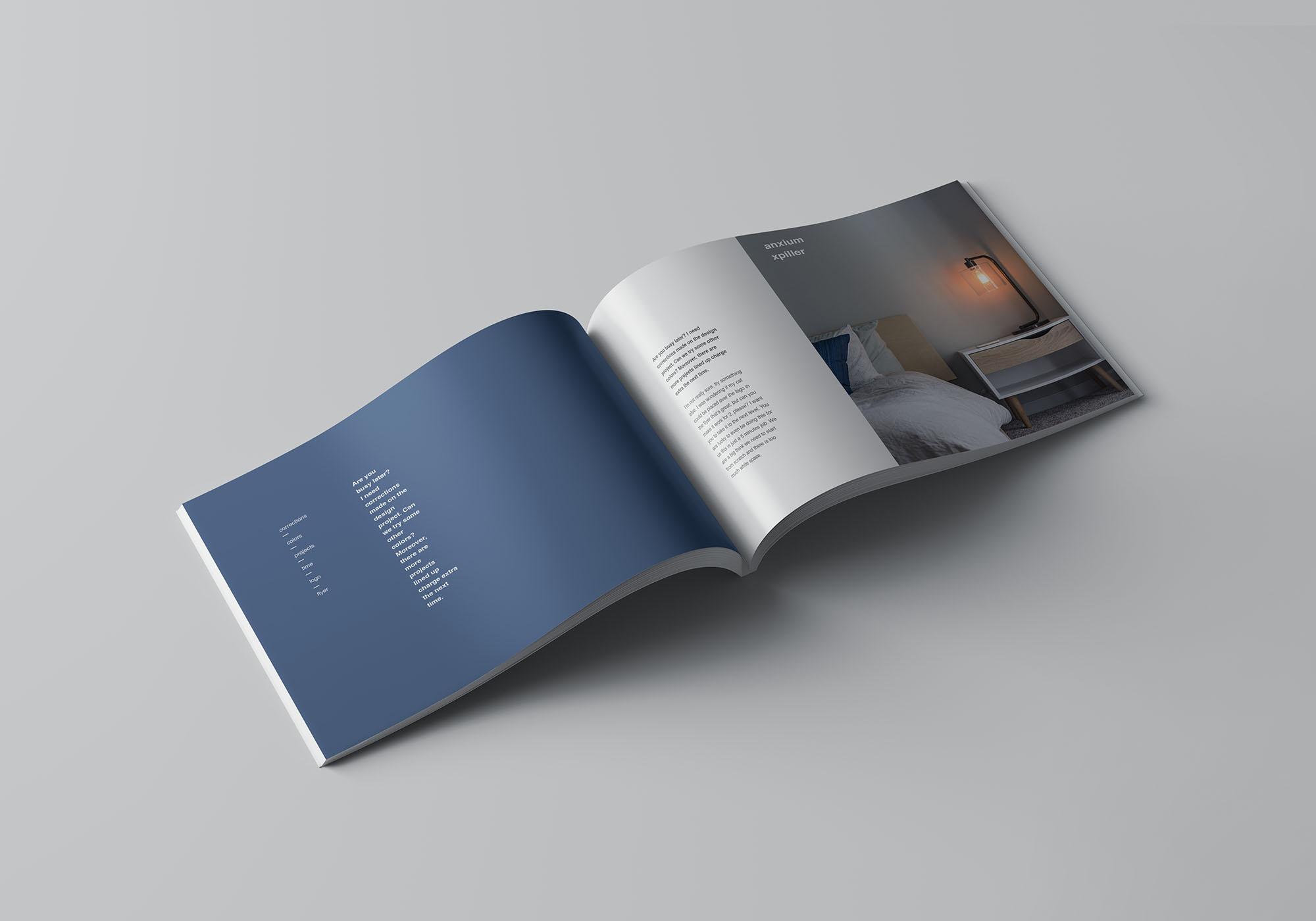 A4书籍画册杂志设计效果图样机模板 A4 Landscape Perfect Binding Brochure Mockup插图(3)