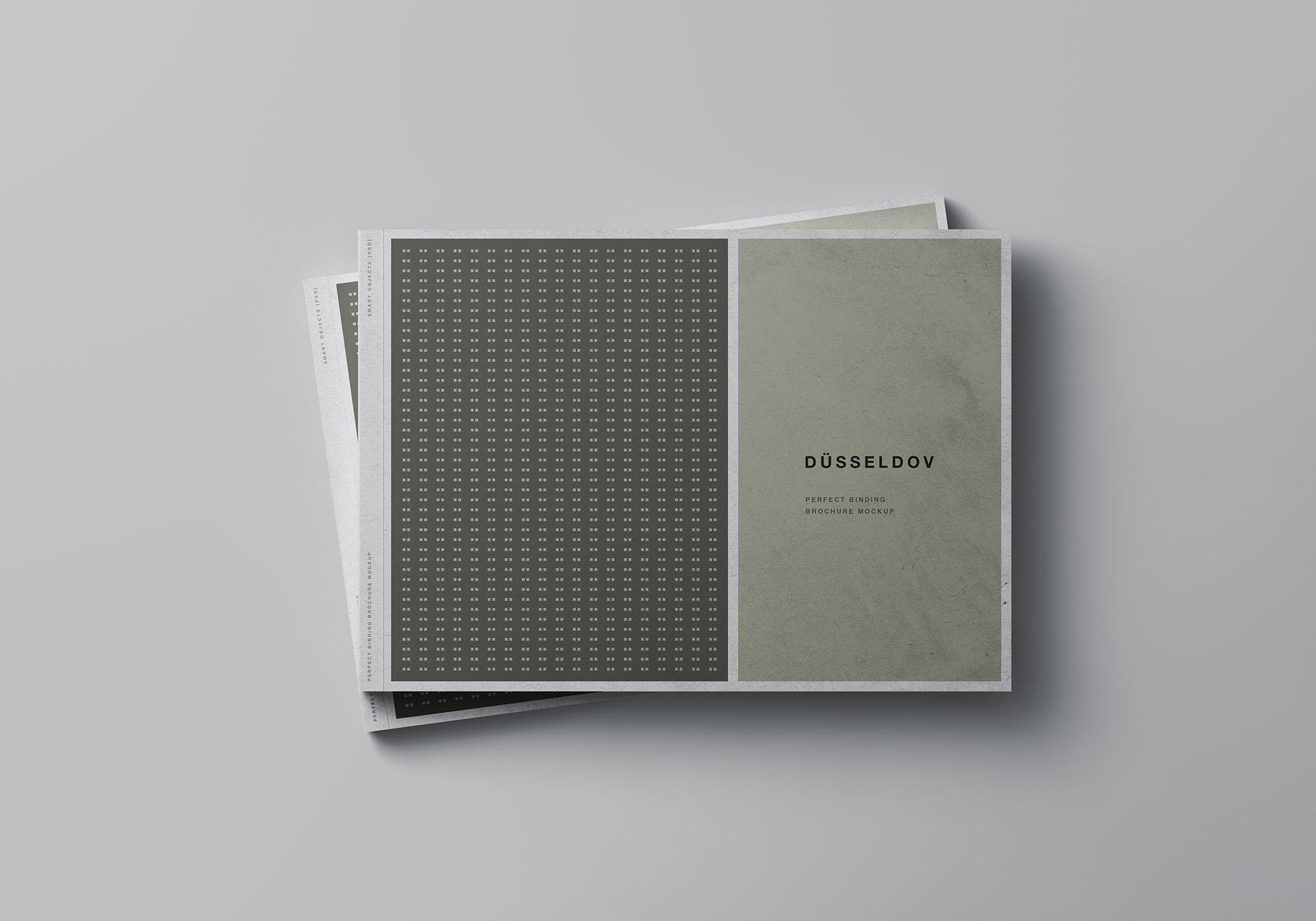 A4书籍画册杂志设计效果图样机模板 A4 Landscape Perfect Binding Brochure Mockup插图(4)