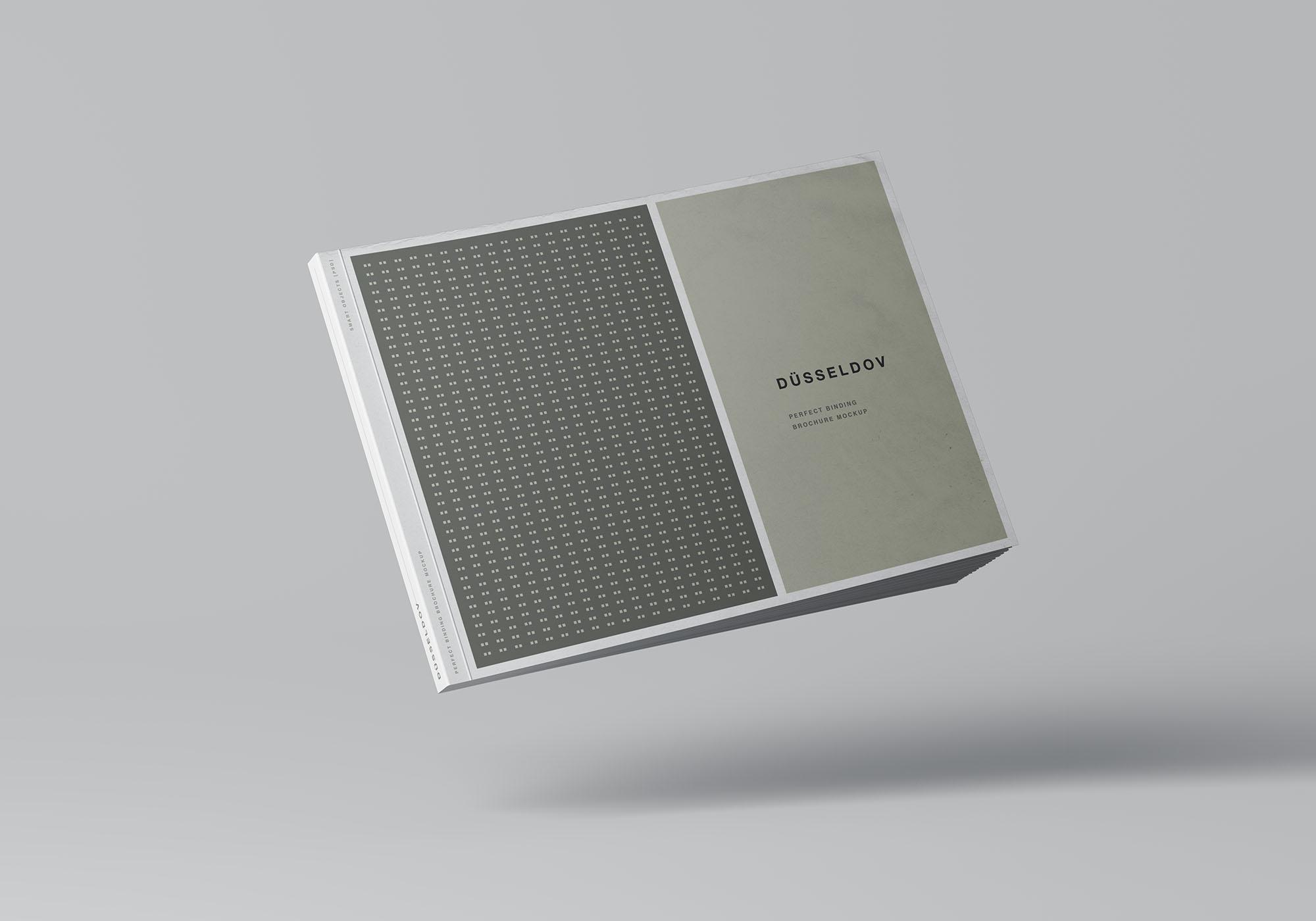 A4书籍画册杂志设计效果图样机模板 A4 Landscape Perfect Binding Brochure Mockup插图(5)