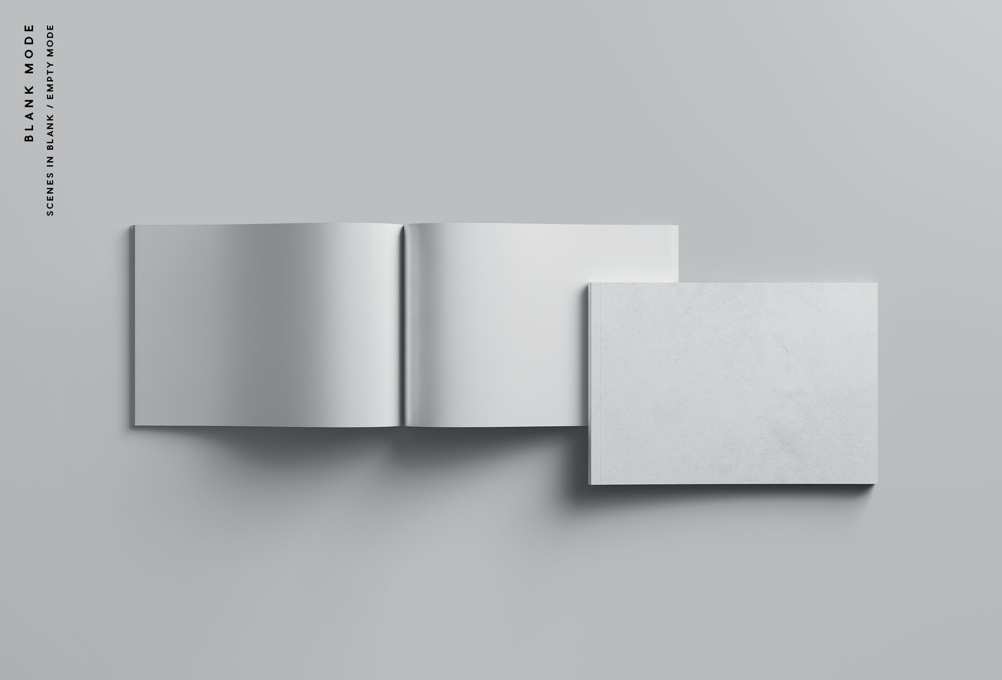 A4书籍画册杂志设计效果图样机模板 A4 Landscape Perfect Binding Brochure Mockup插图(8)