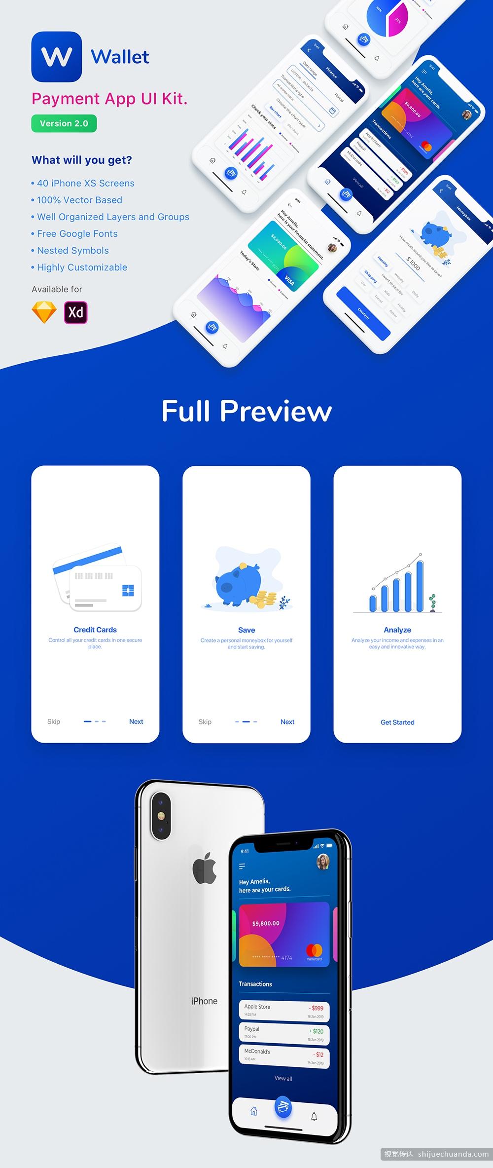 现代全面支付钱包应用UI界面设计工具包 Payment App UI Kit插图