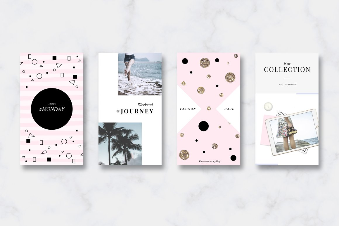 金色/粉色调旅行品牌故事Instagram推广社交媒体设计素材包 ANIMATED Instagram Stories-Pink&Gold插图(2)