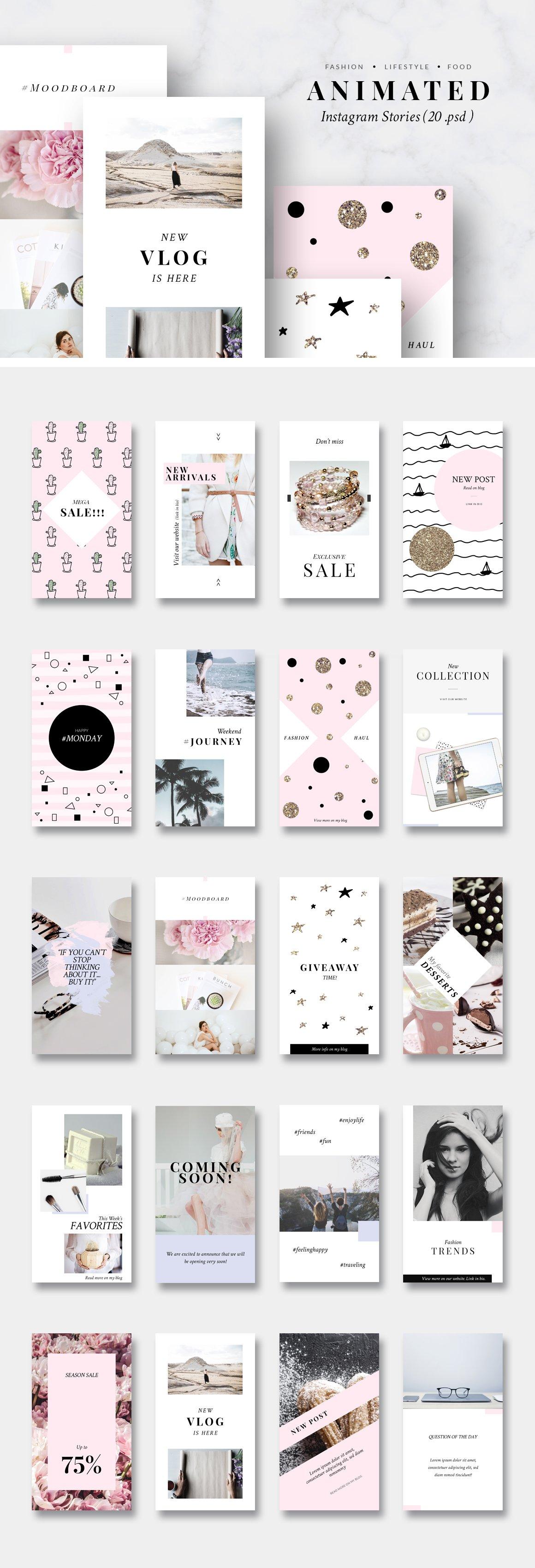 金色/粉色调旅行品牌故事Instagram推广社交媒体设计素材包 ANIMATED Instagram Stories-Pink&Gold插图