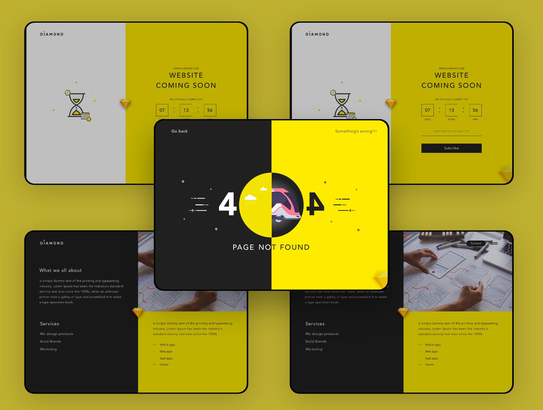 创意简洁公司网站WEB UI界面设计模板套件 Diamond UI Web Template插图(1)